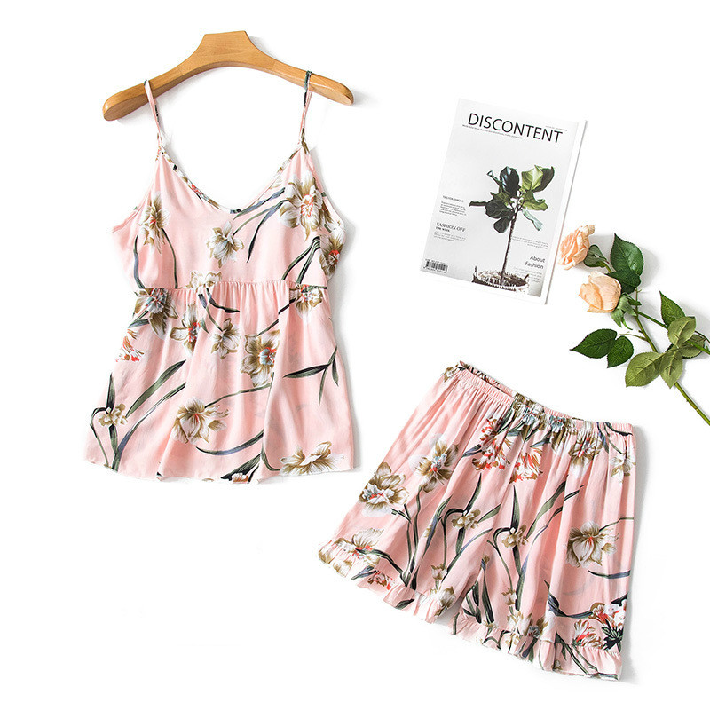 2019 Summer Women   Pajamas     Sets   With Shorts Sexy Cotton Flower Print Pyjama Sleeveless Nightsuits   Pajamas   For Women