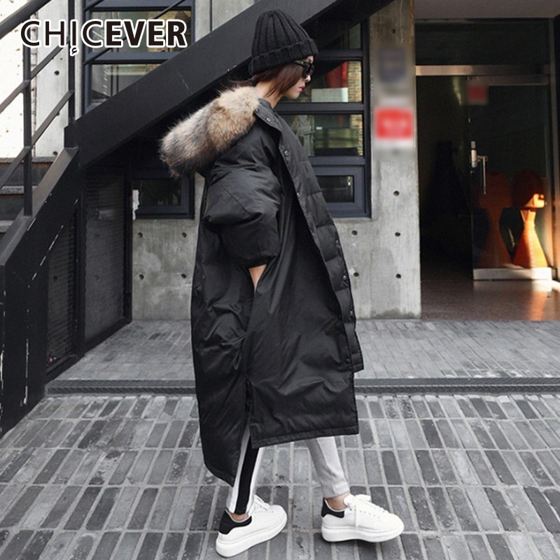 CHICEVER Winter Down Jacket Coat Hooded Batwing Sleeve Asymmetric Hem Split Black Thick Jackets Female Fashion