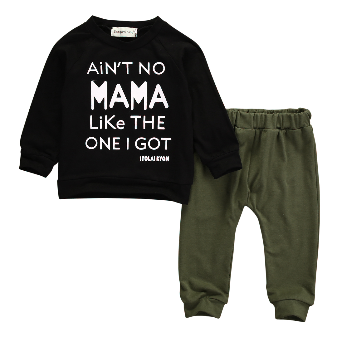 Mamas Boy Outfit Mom Print Sweatshirt Long Sleeve T-Shirt Baby Clothes Fall Winter Tops