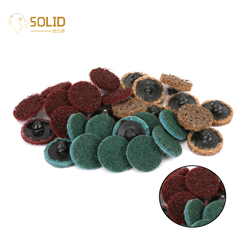 "15Pcs 1/2/3"" Roloc Type R Surface Polishing Conditioning Disc Threaded Twist Lock Metal Polish Roloc Sanding Grinding Disc"