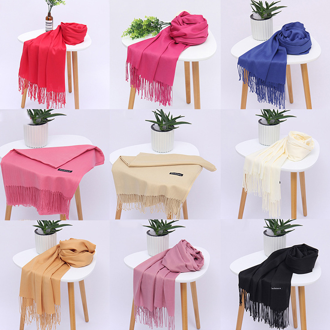 Classic Spring Summer Pashmina Scarf Women Thin Shawls And Wraps Fashion Solid Female Hijab Stoles Pashmina Cashmere foulard in Women 39 s Scarves from Apparel Accessories