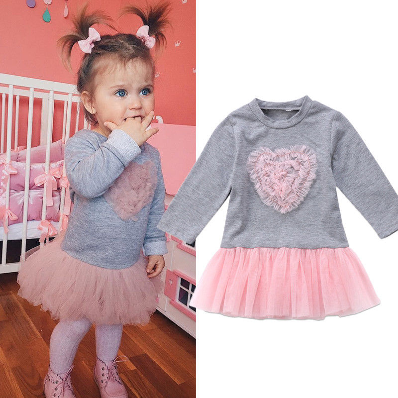 PudcocoGirl Dress Mon Toddler Kids Baby Girl Long Sleeve Lace Dress Sweatshirt Outfits Clothes US