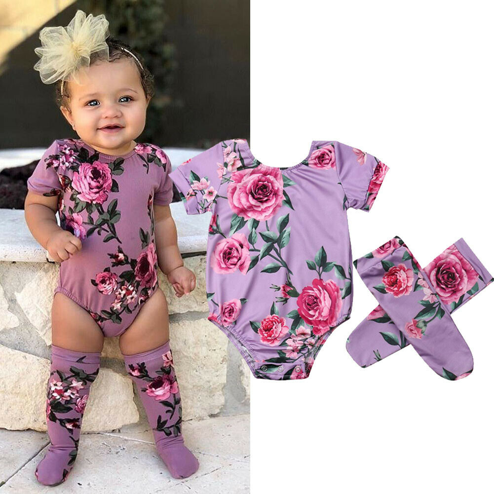 4083965e5 0-18M Summer Baby Girls Bodysuit Headband Clothes 2PCS Short Sleeve Floral  Print Jumpsuit Outfits Set ~ Best Seller June 2019