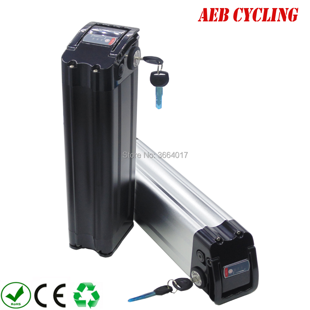 EU US free shipping and taxes aluminum silver case 18650 36V 24Ah Li-ion ebike battery pack silver fish 250W-500W electric bikeEU US free shipping and taxes aluminum silver case 18650 36V 24Ah Li-ion ebike battery pack silver fish 250W-500W electric bike