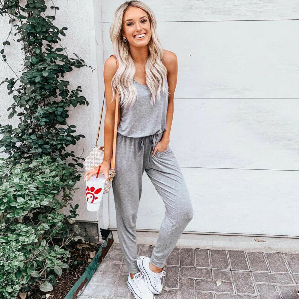 Women Sleeveless Casual   Jumpsuit   Ladies Summer Playsuit Party Bodycon Loose Solid Romper Long Trousers Pants