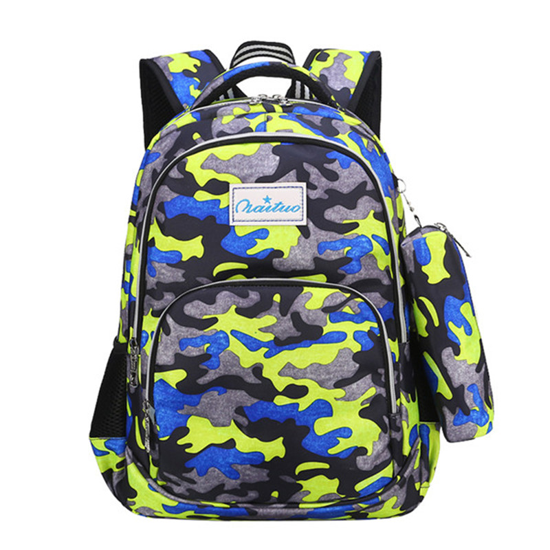 Camouflage Waterproof Nylon School Bags For Girls Boys Orthopedic Large Capacity Children Backpack Kids Bag Mochila Escolar