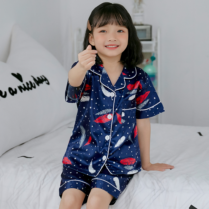 Girls   Pajamas   2019 Spring Summer Short Sleeve Children's Sleepwear   Set   Silk   Pajamas   Girls Pyjamas   Sets   for Kids Tracksuit   Set