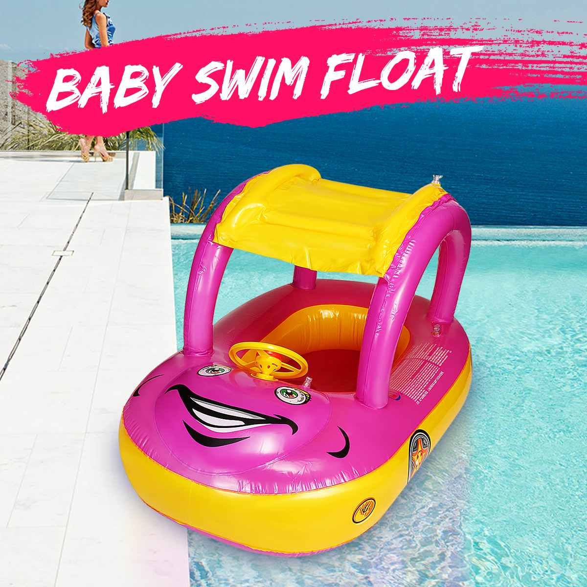 Children Baby Inflatable Foldable Float Seat Boat Swimming Ring Water Pool