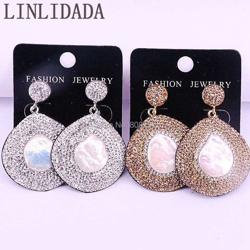 5pair golden rhinestone pave nature freshwater pearl dangle earrings for women high quality. Black Bedroom Furniture Sets. Home Design Ideas