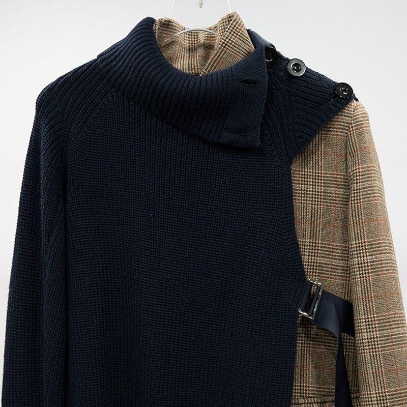 Kadın Giyim'ten Blazerler'de TWOTWINSTYLE Ekose Blazer Ceket Kadın Uzun Kollu Bandaj Patchwork Örgü Kazak Asimetrik kadın Takım Elbise 2019 Bahar'da  Grup 3