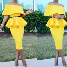 3d6b8b1f2418 2 Pieces Sets Spring Women Pencil Skirts with One Shoulder Peplum Tops Suits  Elegant Officewear Slim
