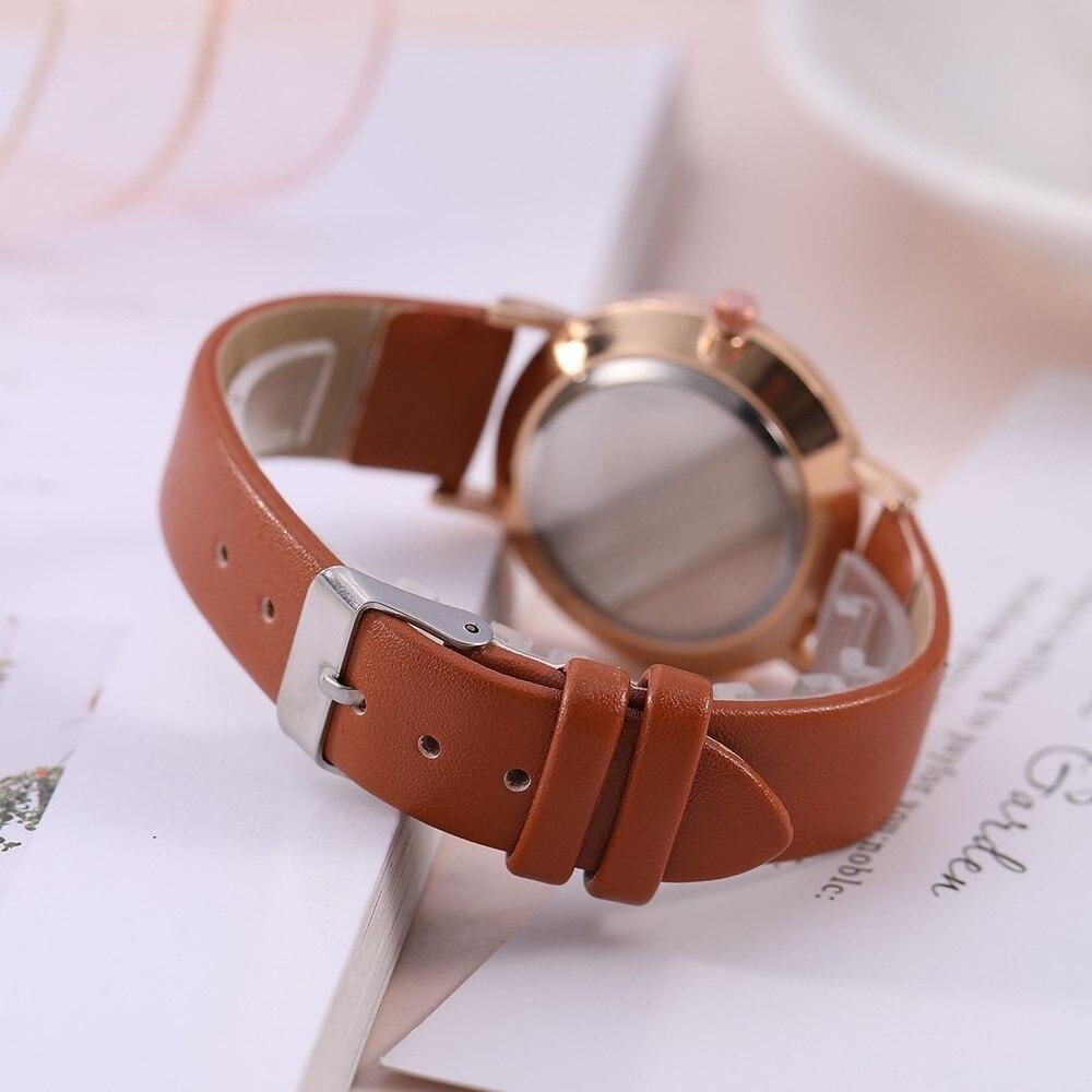 Top Style Fashion Women's Luxury Leather Band Analog Quartz Wrist Watch Golden Ladies Watch Women Dress Reloj Mujer Black Clock 4