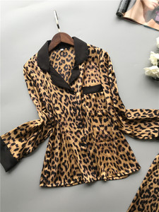Image 2 - Lisacmvpnel Spring New Long Sleeve Pajamas Woman Ice Silk Fashion Leopard Print Sexy Pajama Set