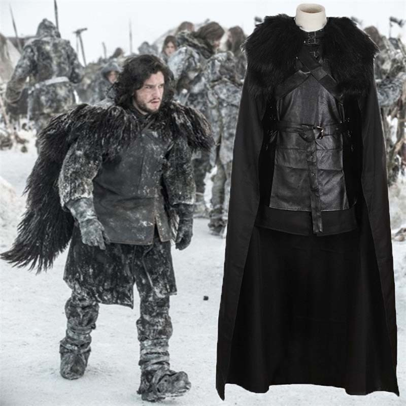 Game of Thrones Jon Snow Cosplay Costume Halloween Party Black Men Outfit Cool Man Outfit Winter Coat Male Cosplay Full Set
