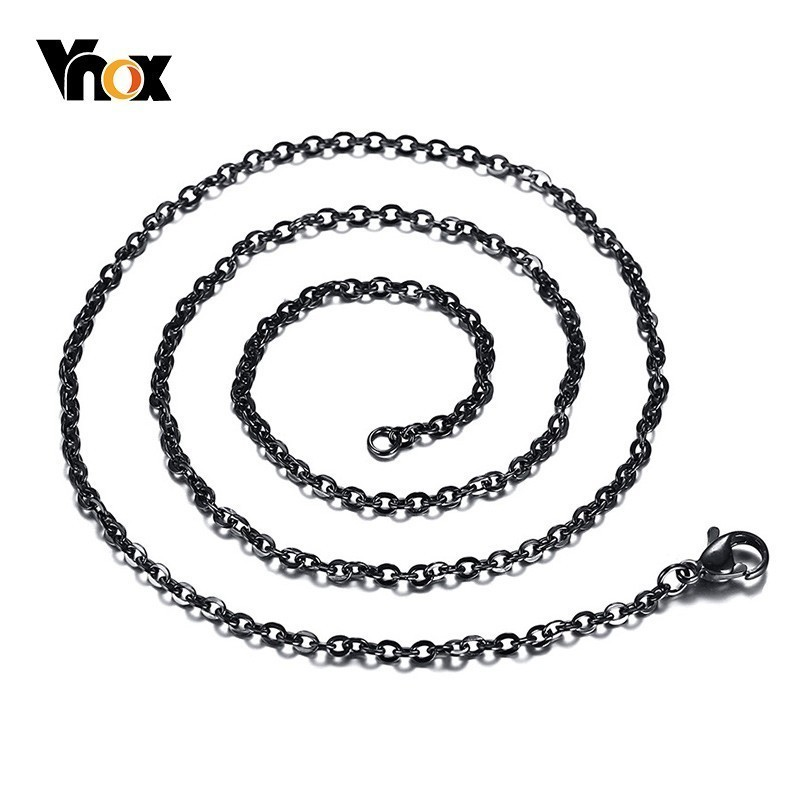 Vnox 2.4mm Stainless Steel O Chain Necklace Black Color 50/60cm