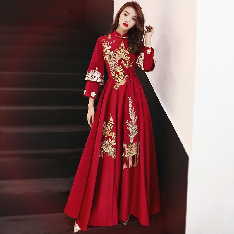 Style chinois mariage Cheongsam hiver Dragon Phoenix Robe broderie Qipao robes Robe traditionnelle Chinoise mariée rouge Qi Pao