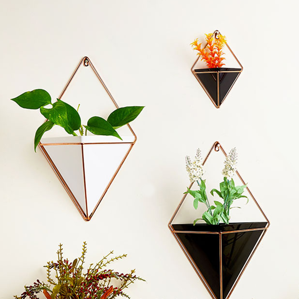 Acryl Bloempot + Iron Plant Houders Set Indoor Opknoping Planter Geometrische Vaas Muur Decor Container Vetplanten Planten Potten