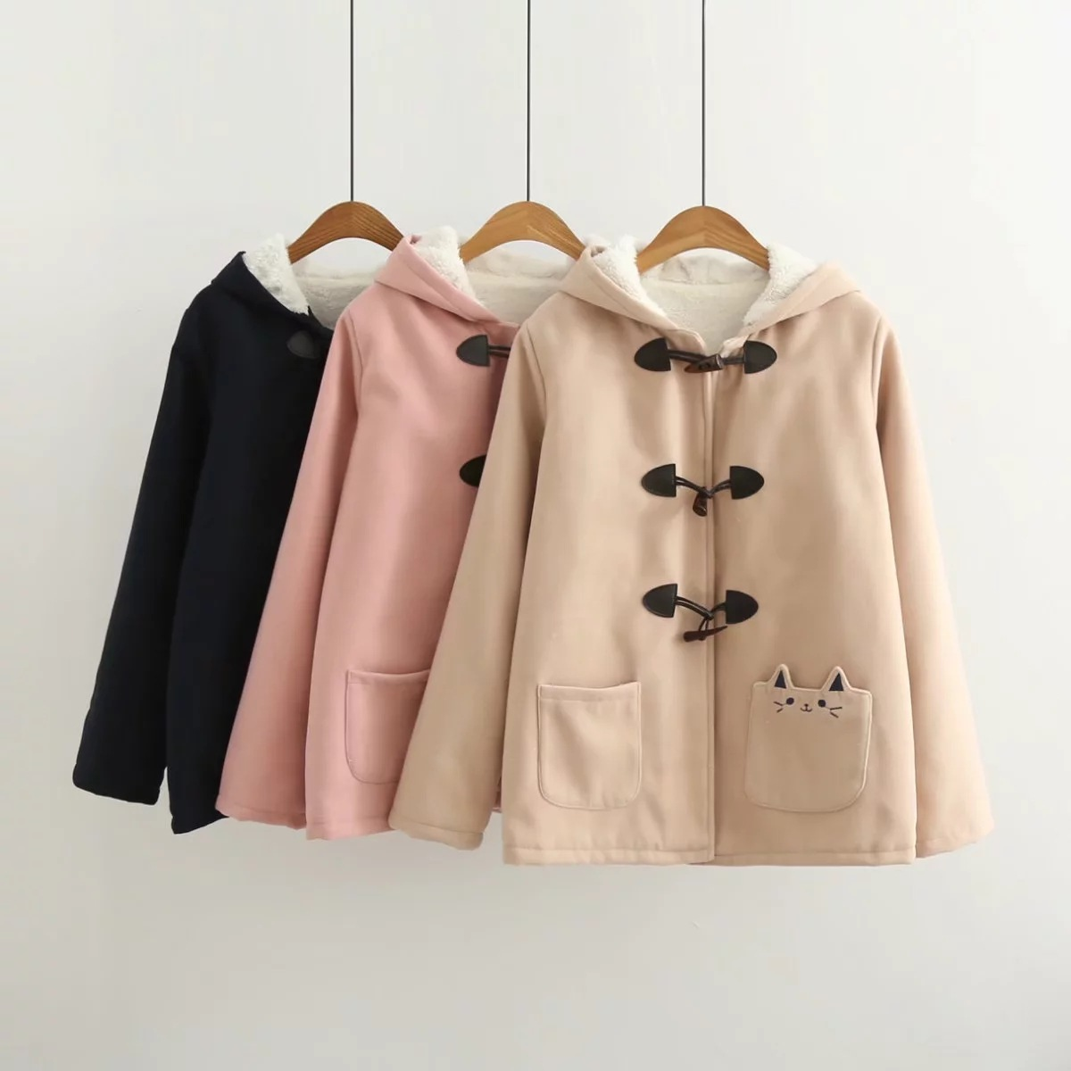2018 Winter New Horns Buckle Sweet Preppy Style Cute Pocket Cat Embroidered Long Sleeve Warm Hooded Woolen Jacket
