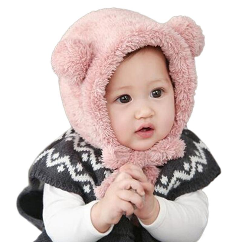 Cotton Knit Cap Cartoon Bear Shape Warm Hat Winter Baby Boy Girl Child Child Baby Hat Windproof Earmuffs Holiday Gift