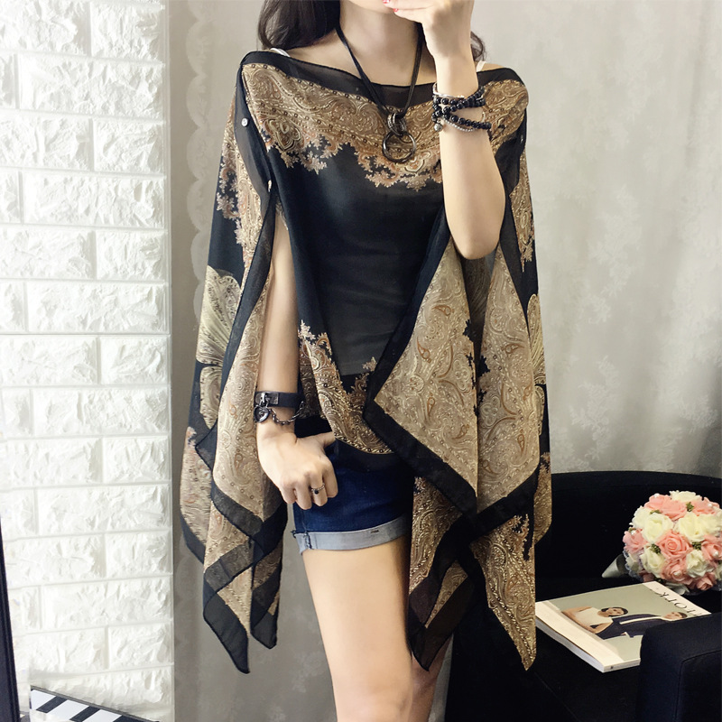 2019 Fashion Floral Chiffon   Blouses   Women Spring Summer Style Beachwear Cover up Elegant Flower Print Chiffon Loose   Shirt