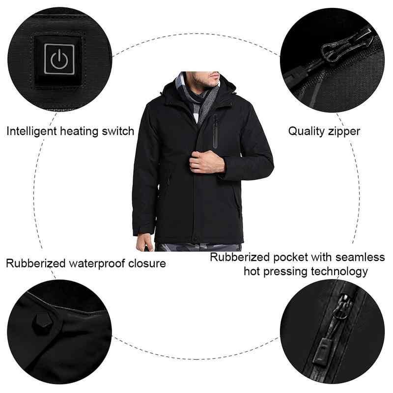 MR K 2018 Männer Winter Outdoor USB Infrarot Heizung Mit Kapuze Jacke Elektrische Thermische Kleidung Mantel Für Sport Klettern Wandern