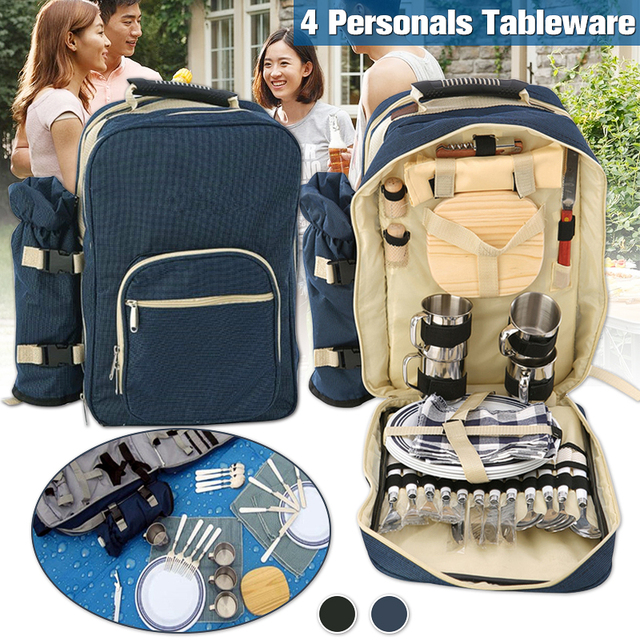 Blue/Green Outdoor 4 Persons Picnic Backapck Rucksack Portable Camping BBQ Lunch Bag With Tableware Set Picnic Bags