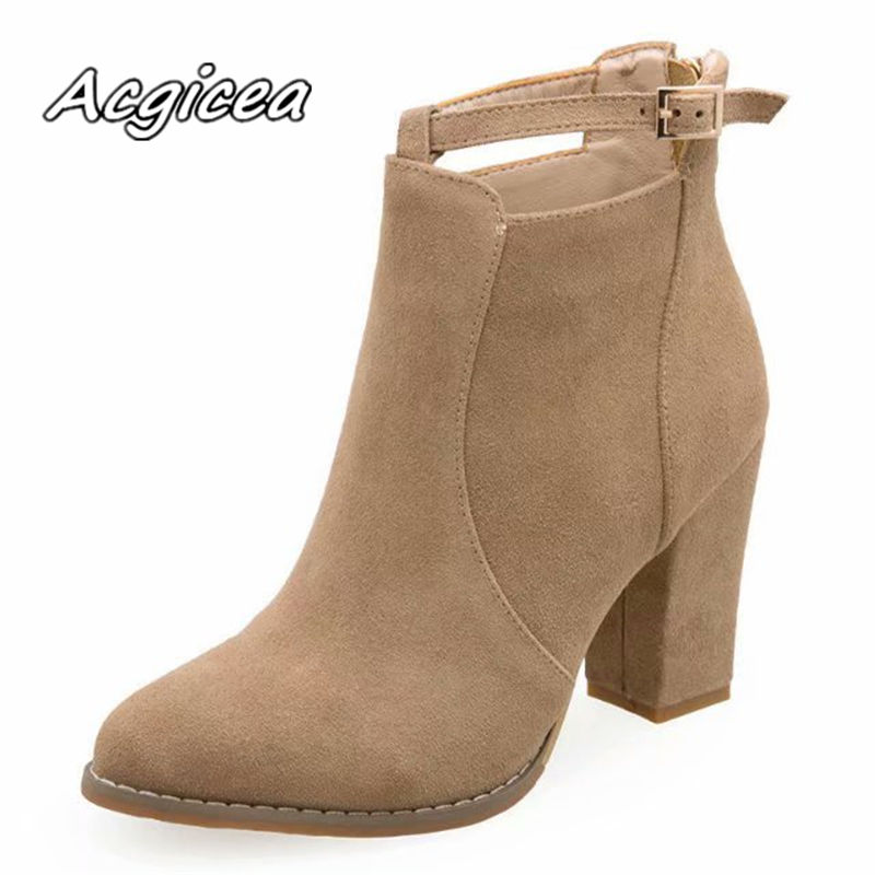 2019 winter new thick with comfortable pointed short boots womens fashion simple shallow mouth plus cotton warm boots w352019 winter new thick with comfortable pointed short boots womens fashion simple shallow mouth plus cotton warm boots w35