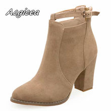 2019 winter new thick with comfortable pointed short boots women's fashion simpl