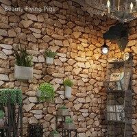3d efeito de pedra do vintage à prova dwaterproof água papel parede rolo rústico falso textura de pedra vinil pvc decoração da sua casa para paredes|Pap. parede| |  -