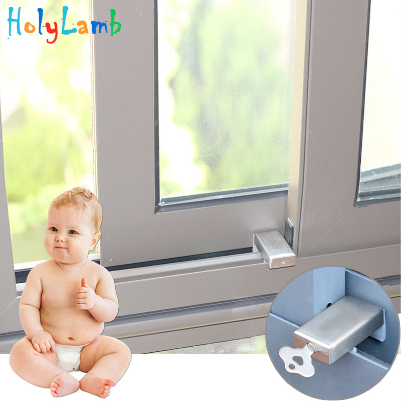 1Pcs Child Protection Baby Safety Security Window Lock With Key Cabinet Locks Straps Child Safety Window Protection  Limiter