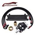 SPEEDWOW Универсальный 10ROW 10AN комплект масляного охладителя двигателя + 1 M/1 2 M/1 4 M нержавеющая сталь поворотный шланг линия + масло сэндвич пласт...