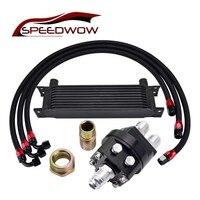 SPEEDWOW Universal 10ROW 10AN Engine Oil Cooler Kit+1M/1.2M/1.4M Stainless Steel Swivel Hose line+Oil Sandwich Plate Adapter