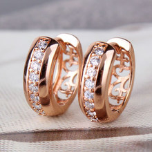 Rose Gold Wedding Crystal Huggie Hoop Earring For Women Bridal Jewelry Shellhard Vintage Charms Rhinestone Pierced Earring Gift(China)