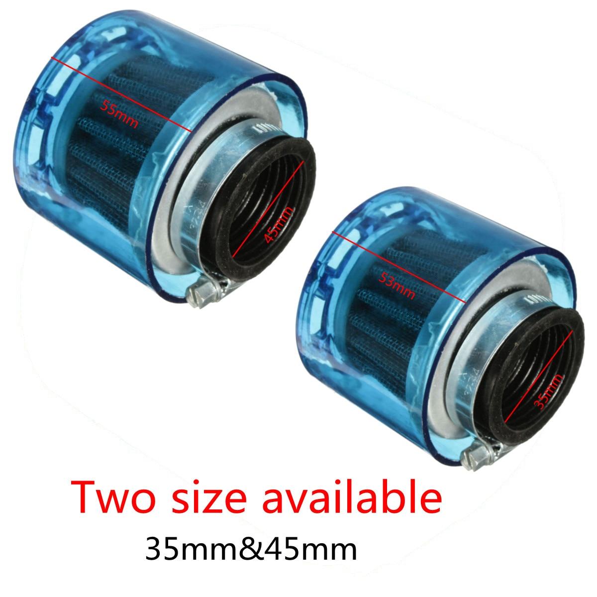 Универсальный Синий воздушный фильтр для мотоцикла 35 мм 45 мм 50cc 110cc 125cc ATV PIT Dirt Bike Splash Proof