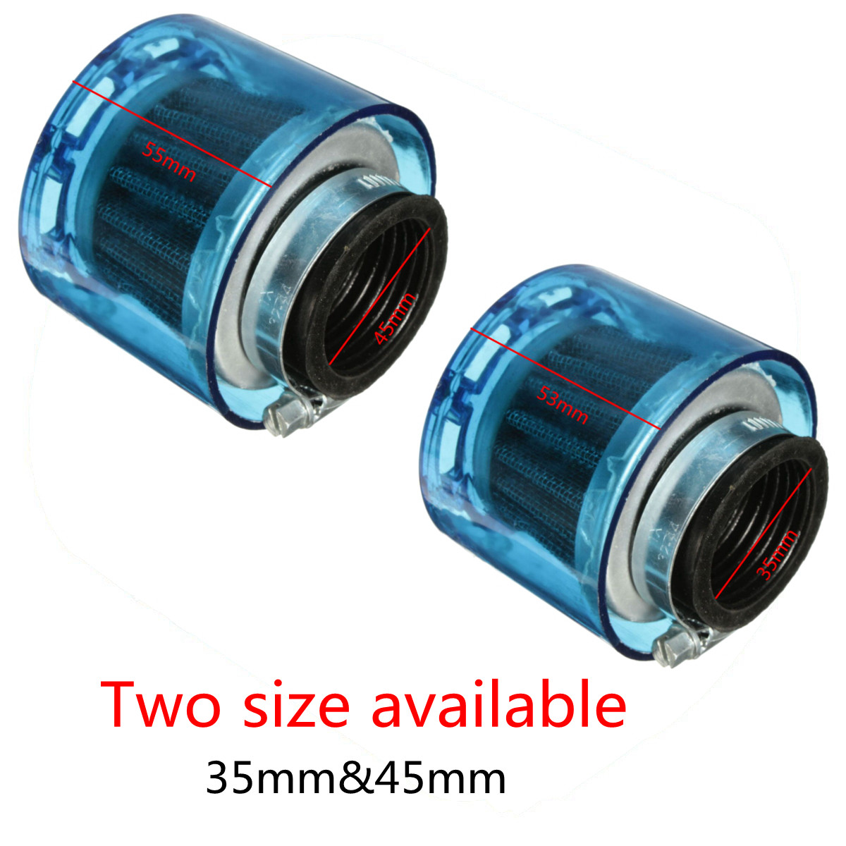 Universal Blue 35mm 45mm Motorcycle Motorbike Air Filter Cleaner 50cc 110cc 125cc ATV PIT Dirt Bike Splash Proof image