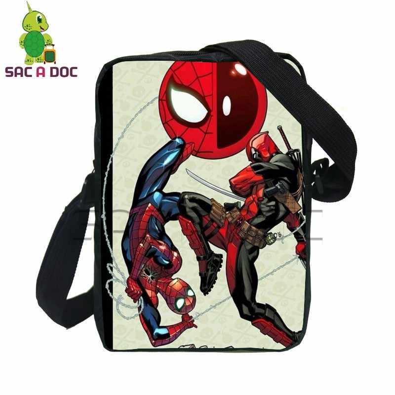 e481ef98ccd9 Comics Avengers Talkaholic Deadpool Spider Man Small Messenger Bags  Children Crossbody Bag Teenage Girls Boys Mini
