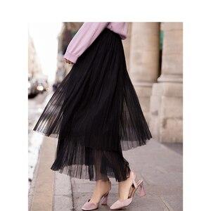Image 3 - INMAN Spring New Arrival High Waist Slim Retro Literary Double Layer Gauze Women A line Skirt