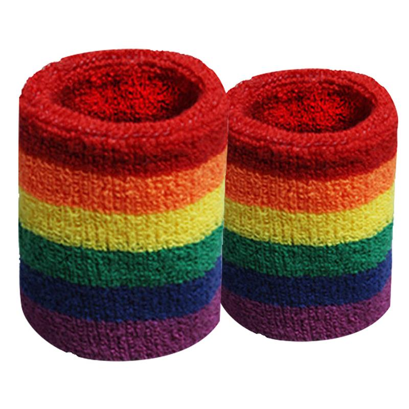 Colorful Rainbow Wristbands Hand Band Sweatband Sweat Absorbent Basketball Sports Supplies Wraps Guards Wrist Breathable