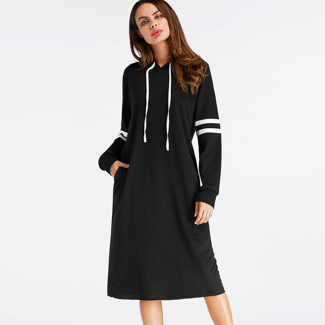 2799ddc77206 US $18.38 35% OFF|Black Hoodies Dress Women Long Sleeve Striped Casual Tops  With Hooded Loose Dresses Spring 2019 Autumn Vestidos Pullovers Female-in  ...