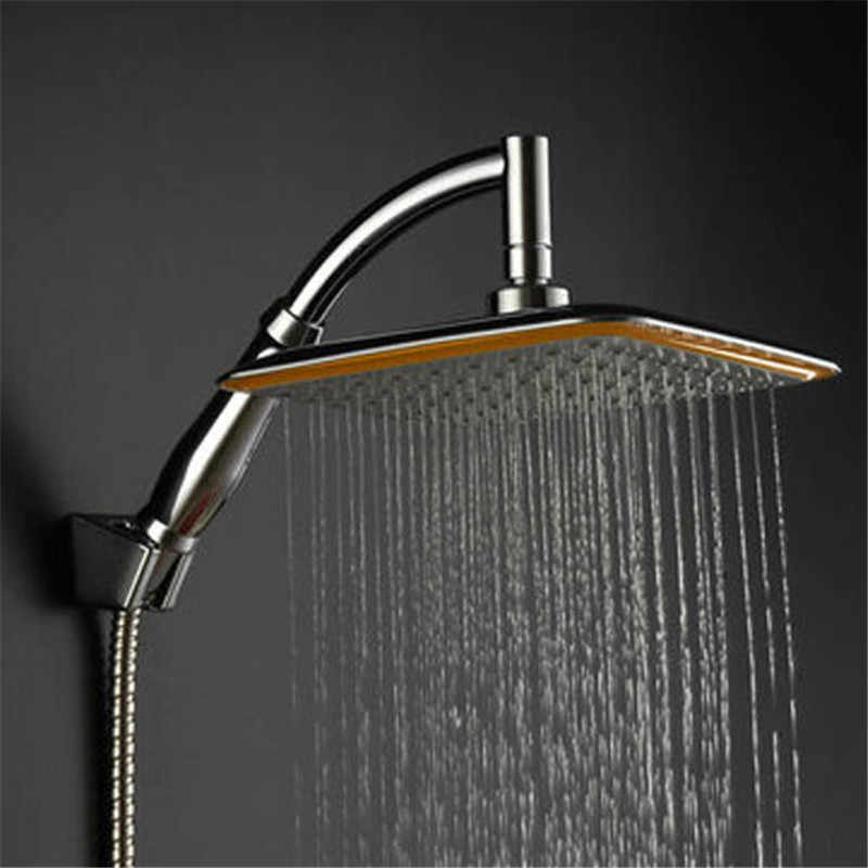 9 Inch Square Thin Rotatable Top Rain Shower Head Stainless Steel Water Saving Pressure Sprayer ABS Chrome Extension Arm