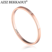AZIZ BEKKAOUI Simple Style Engrave Name Rings Rose Gold Color Stainless Steel Ring for Women Wedding Jewelry Gift Dropshipping(China)
