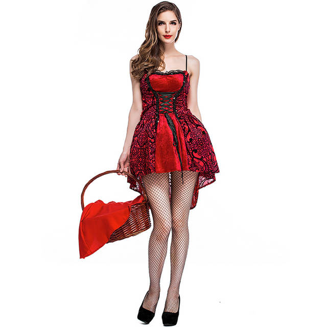 1050643d43 US $26.2 38% OFF|S XL Adult Women Fairy Tale Little Red Riding Hood Gothic  Party Vampire Halloween Costumes for Girl Fancy Dress Zombie Uniform-in ...
