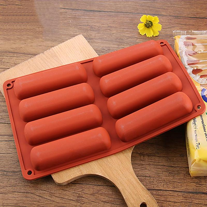 Silicone Mold Tray Bakeware Baking-Tools Cake-Puff Oven Ice-Mould Finger-Biscuit Long-Strip