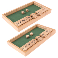 MagiDeal Shut The Box Game Wooden Board Number Dice Toy for Family/ Drinking/Party Game Leisure Play Toy
