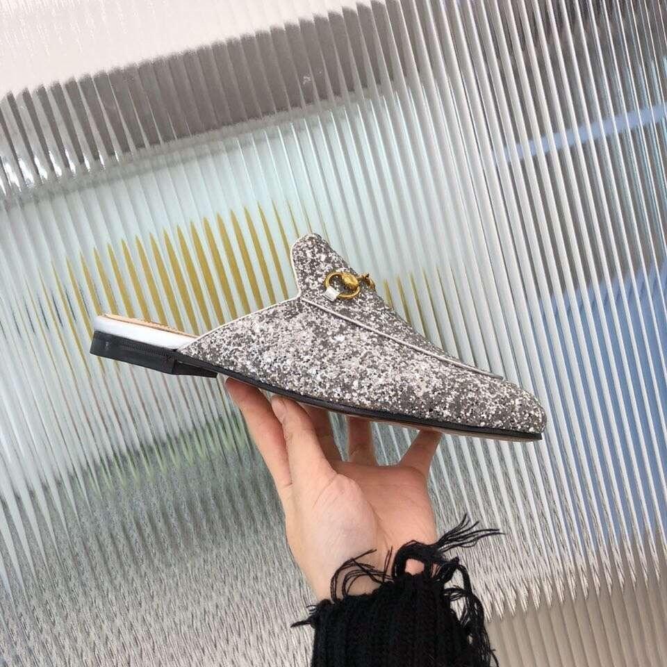 silver Confortable Appartements Designer Pantoufles T Printemps Cristal En Black Cuir Femme Été Pour 2019 Mules Chaussures Dehors xRqwHgUa