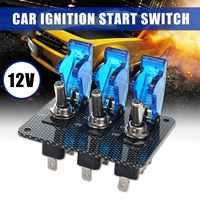 Universal 12V Ignition Switch Panel Carbon Fiber For Race Car Engine Start Push Carbon Fiber Car Led Toggle Switch Kit