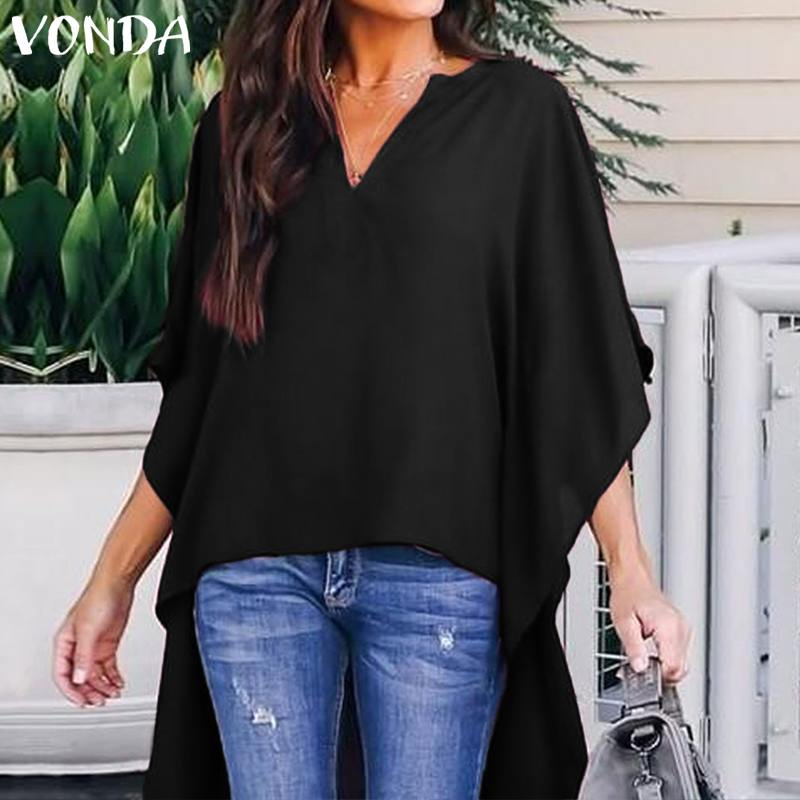 VONDA Fashion Women Blouses 2019 Sexy V Neck Asymmetrical Hem Batwing Sleeve Solid Blusas Femininas Plus Size Shirts Long Tops