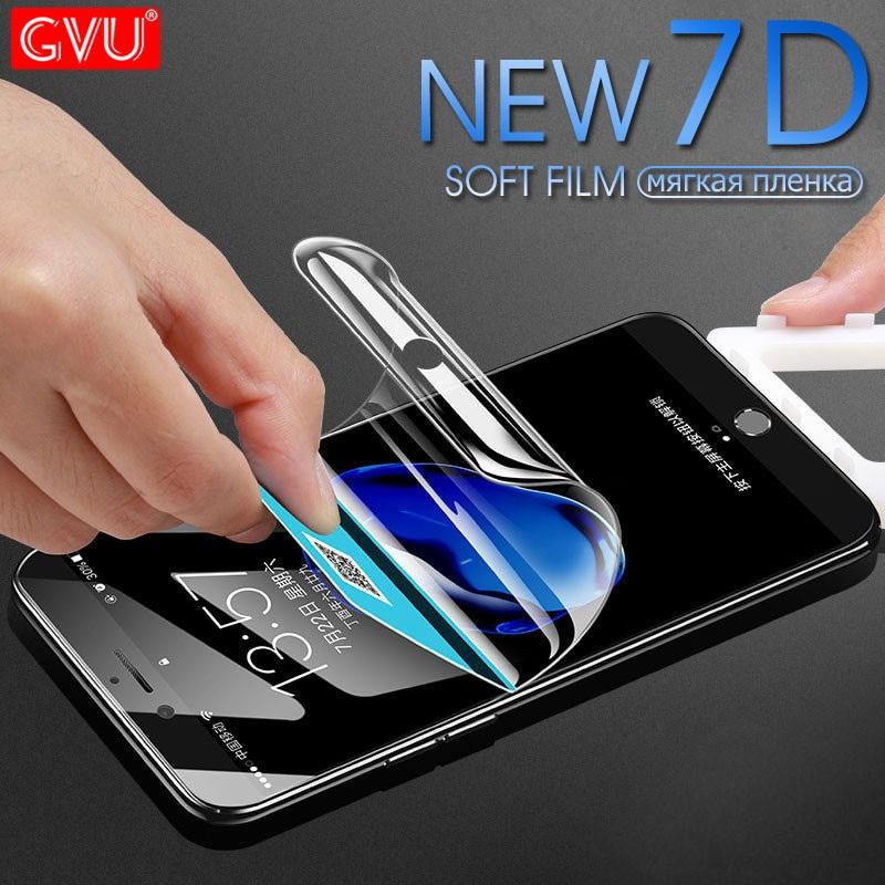 GVU 7D полное покрытие мягкий гидрогель плёнки для iPhone 6 6S 7 8 Plus X 10 экран протектор на для iPhone 6 6S 7 8 X не стекло