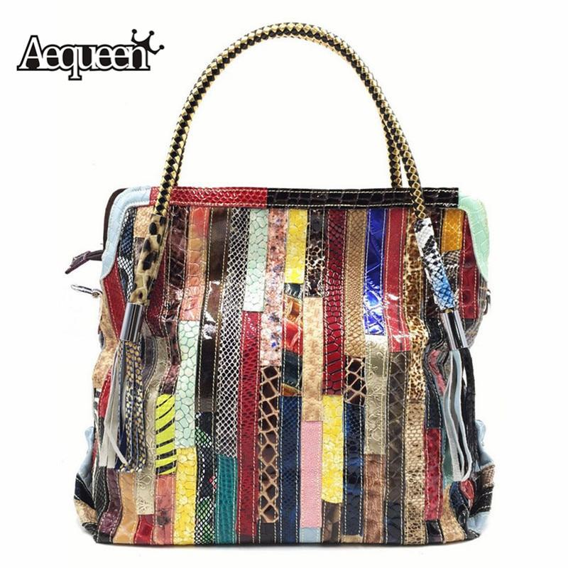 AEQUEEN Feminina Bolsa Women s Genuine Leather Handbag Female Patchwork Colorful Shoulder Messenger Bag Totes Shoppers