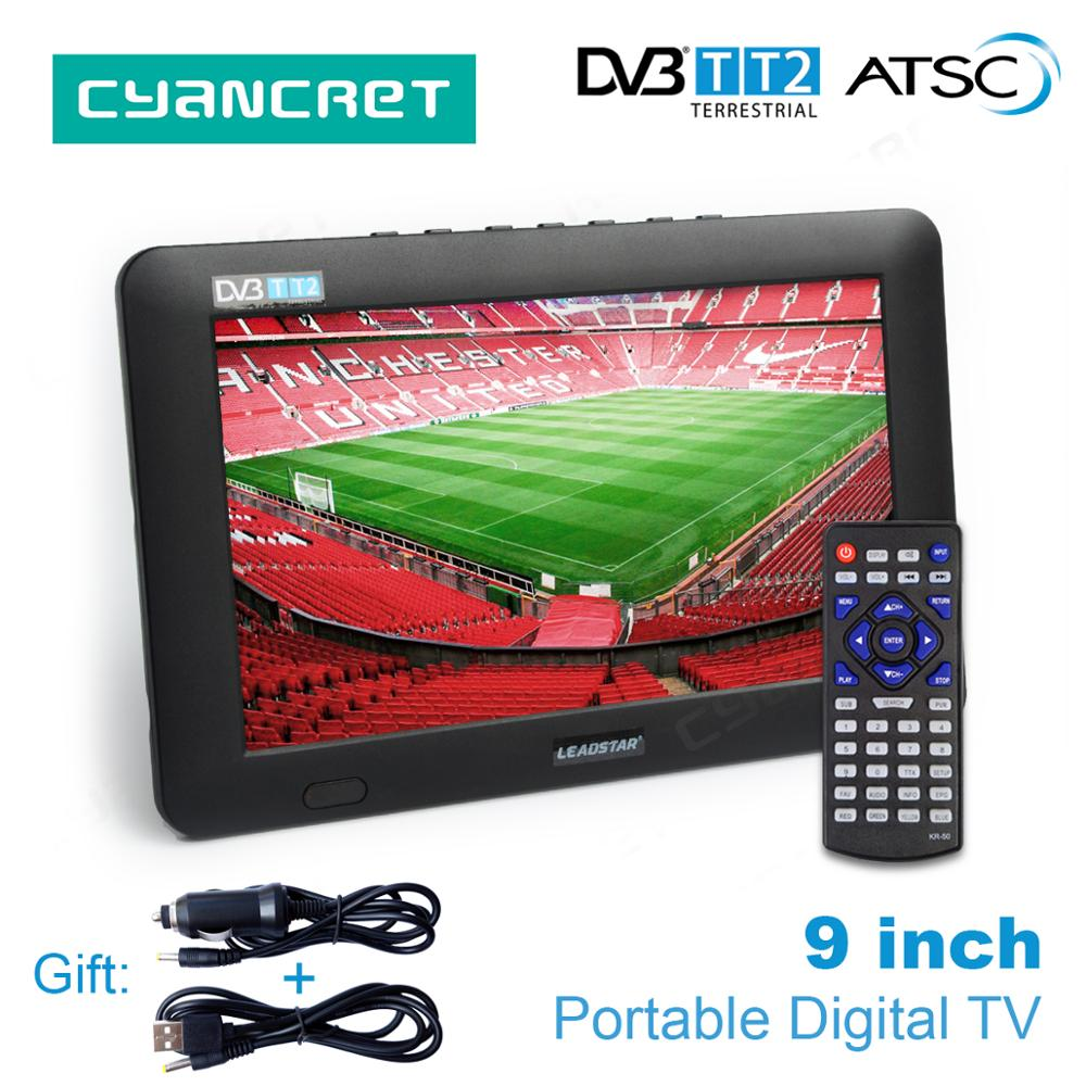 LEADSTAR 9 inch Tragbare TV DVB-T2 ATSC tdt Digital und Analog mini kleine Auto Fernsehen Unterstützung USB TF Karte PVR MP4 AC3